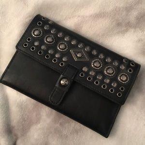 Black Leather Studded Patricia Nash Clutch Wallet